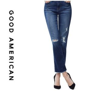 Good American Good Straight Frayed Ankle Jeans 26